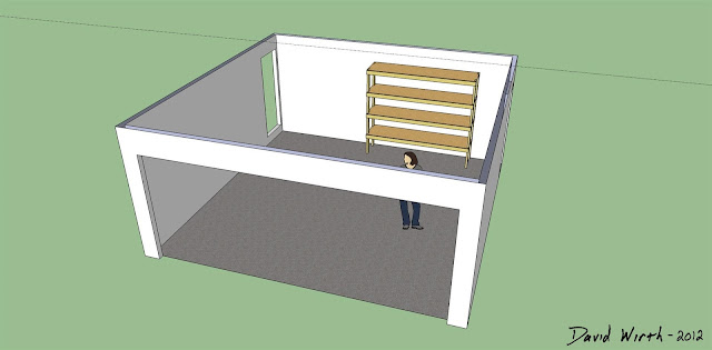 google sketchup garage shelf, wood shelf for garage tools, wood shelf design