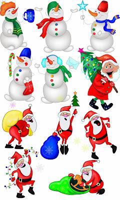 bonecos Natal e Papai Noel  fundo transparente