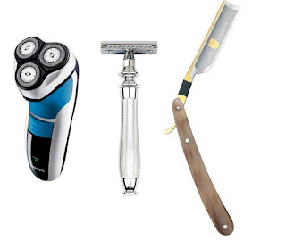 Electric razor, Edwin Jagger Safety Razor and Dovo Bergischer Lowe Straight Razor