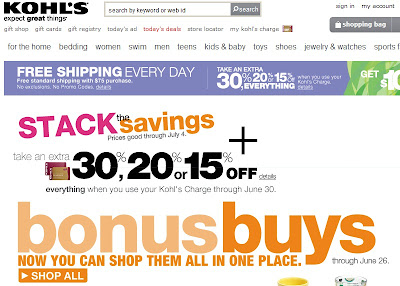 Kohl's Home page