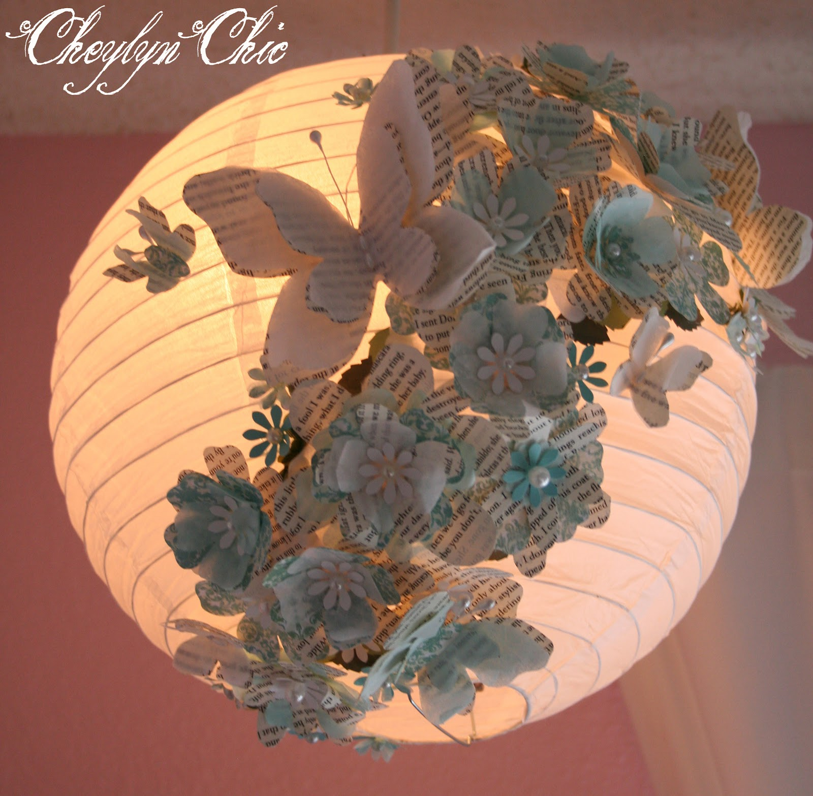 Cheylyn chic turquoise butterfly flower paper lantern this beautiful turquoise butterfly flower paper lantern was one of my favorites to make it was a special order for a girls nursery and was inspired by mightylinksfo