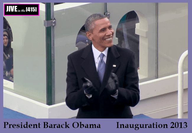 President Barack Obama applauds at his inauguration January 21, 2013