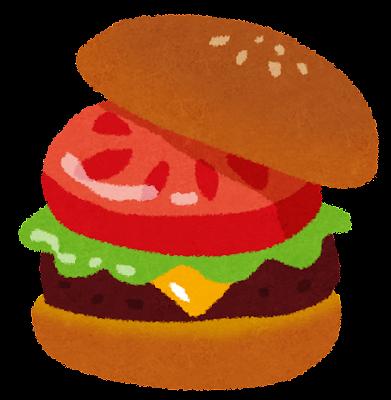 ハンバーガーのイラスト「トマト・レタス・チーズ」