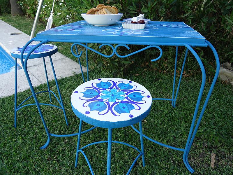 Vintouch muebles reciclados pintados a mano mesa de - Muebles de madera pintados a mano ...
