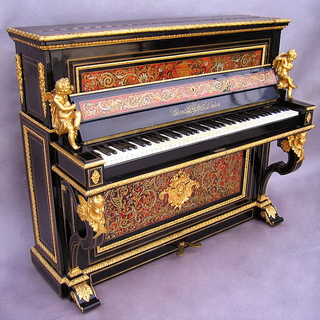French Napoleon III Ormolu-Mounted Figural Boulle Style Upright Piano by Erard, the ormolu by Henri Picard.