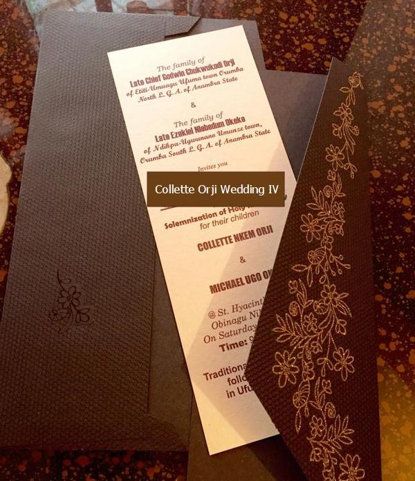 collette orji wedding invitation card