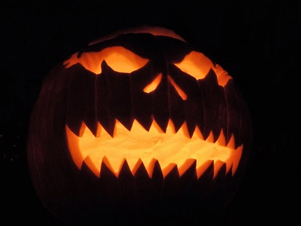 Scary carved Halloween pumpkin