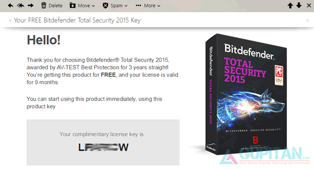 Bitdefender Total Security 2015 Gratis 9 Bulan License Key
