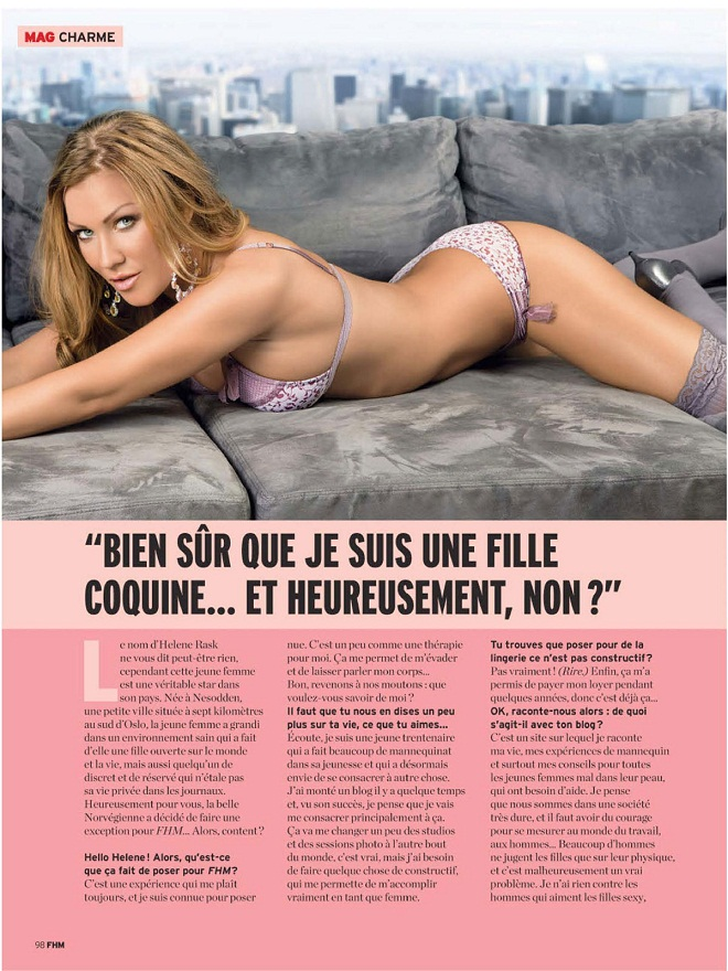 Helene Rask poses for FHM Magazine, France September 2012 Issue