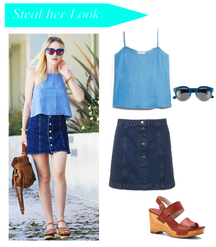 Viva Fashion: Steal her Look: Dakota Fanning's Button Down Denim Skirt