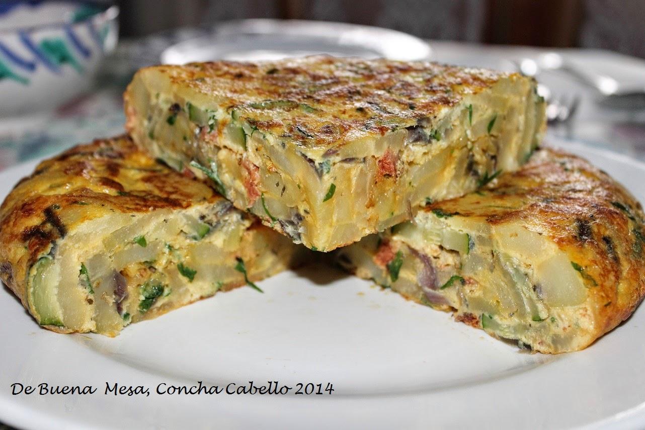 Tortilla de calabac n verde cebolla de figueras y chorizo - Tortilla de calabacin y cebolla ...