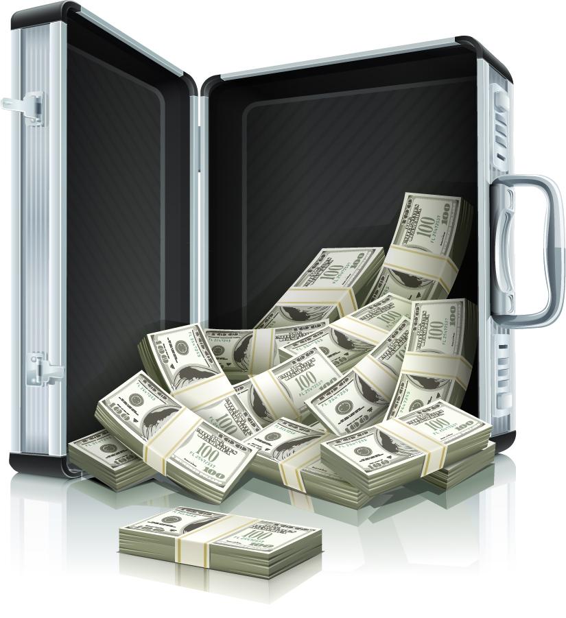 ドル紙幣とアタッシュケース wealth dollars money イラスト素材