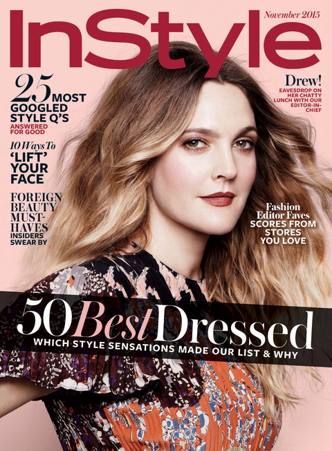 Drew Barrymore On The November 2015 Cover Of Instyle Magazine