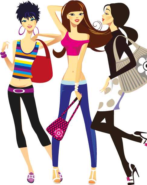 chicas muy monas - clipart
