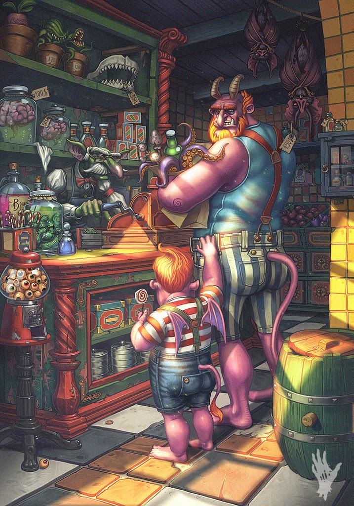 illustration de Alexander Shatohin représentant un diablotion rose pere et fils dansune échope