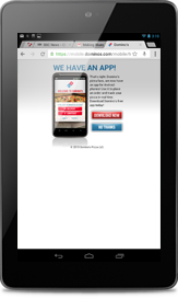 Screen shot of Dominos home page on Nexus 7.