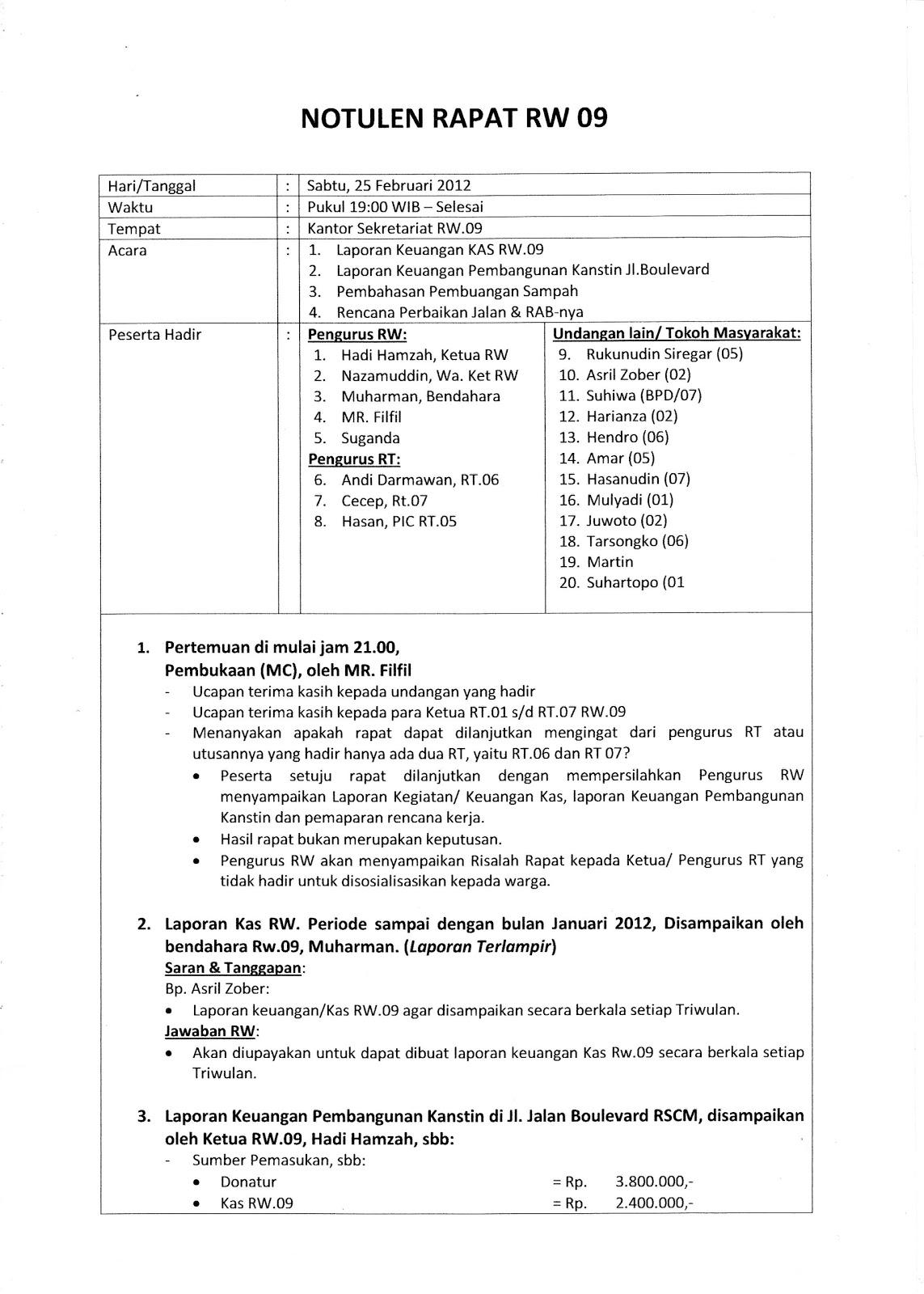 RW09: Notulen Rapat Pengurus 25 Februari 2012