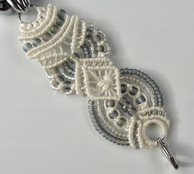 Hand knotted lace bracelet watch in oyster
