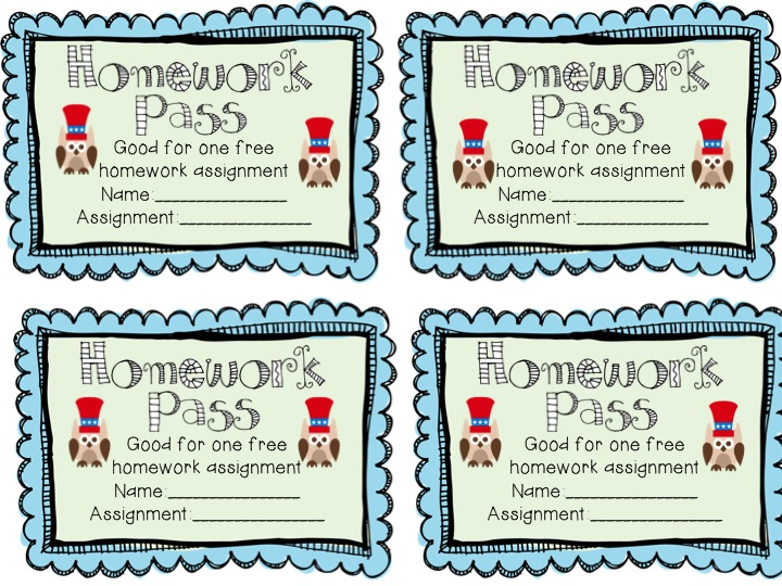 Free printable homework pass christmas