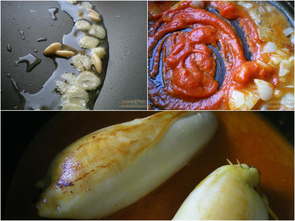 Calamares rellenos de arroz (salsa)