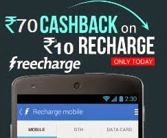 Get Rs.80 worth Mobile Recharge just for Rs.10 Only @ Freecharge