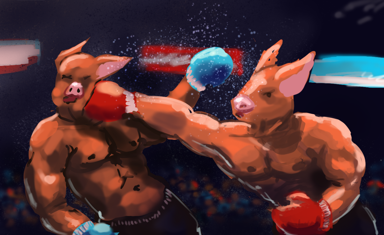 XaB au travail ! [nudity inside] SpitPaint-2015-12-07-Pig_boxing