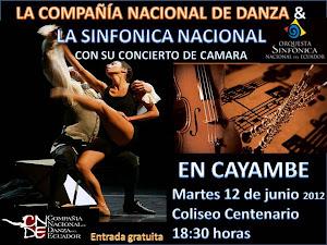 La Compañia Nacional de Danza y la SInfónica Nacional en Cayambe este 12 de Junio del 2012