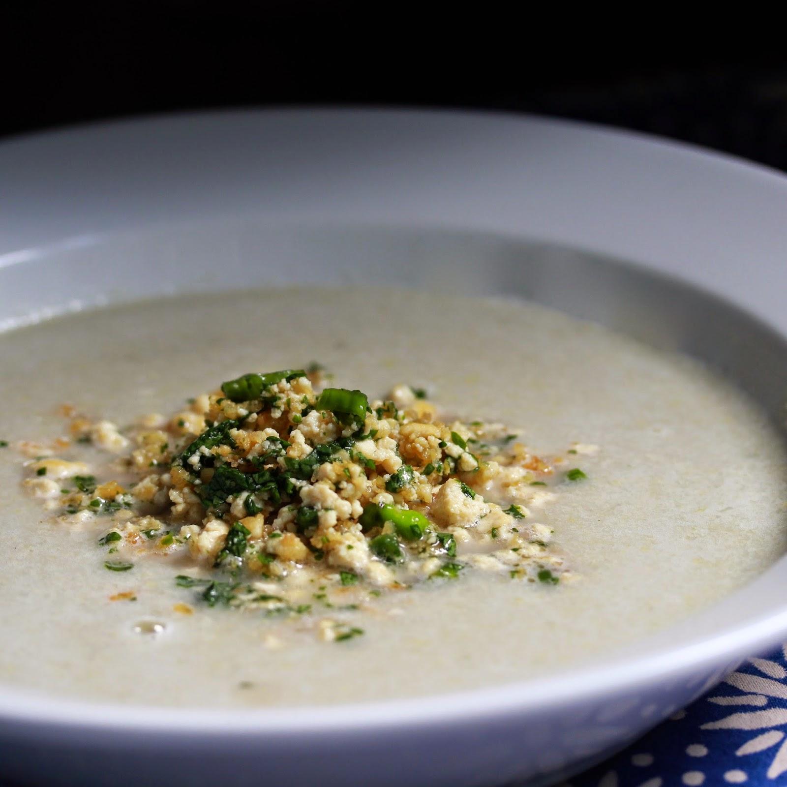 Corn Soup with Tofu Larb