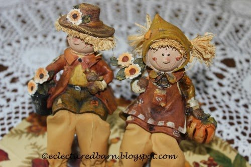 Eclectic Red Barn: Ceramic Boy and Girl Scarecrows