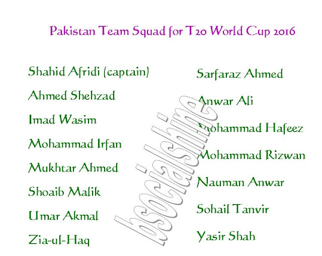 pakistan 11,Pakistan Team Squad for T20 World Cup 2016,player list.,ICC T20 World Cup 2016 Pakistan team squad,Pakistan team for t20 world cup 2016,player list for t20 world cup,confirmed Pakistan team squad for t20 world cup 2016,Pakistan team squad 2016,final 11 player,Pakistan final 11 player for t20 world cup 2016,Pakistan player list,2016 ICC World Twenty20,team squad,all teams squad for t20 world cup 2016,indian team player,Shahid Afridi Shahid Afridi (captain), Ahmed Shehzad, Imad Wasim, Mohammad Irfan, Mukhtar Ahmed, Shoaib Malik, Umar Akmal, Zia-ul-Haq, Sarfaraz Ahmed, Anwar Ali, Mohammad Hafeez, Mohammad Rizwan, Nauman Anwar, Sohail Tanvir, Yasir Shah,