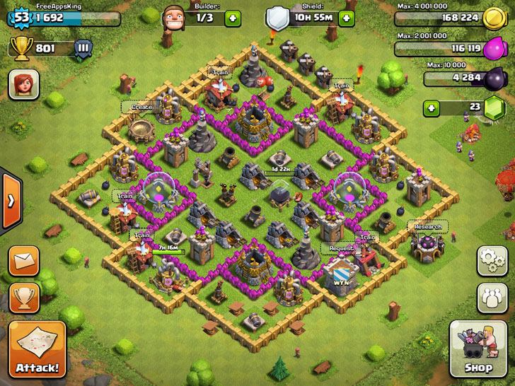 FreeAppsKing - Clash Of Clans Village - Level 53 - Clash Of Clans
