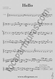 Partitura de Hello para Violín Lionel Richie  Sheet Music Violin Music Score Hello