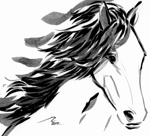 big draft horse with long mane