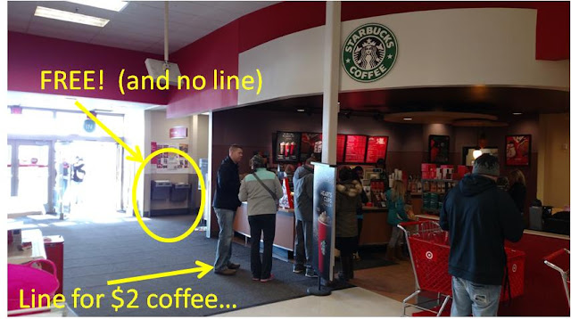 Starbucks vs Free Water Fountain- with caption