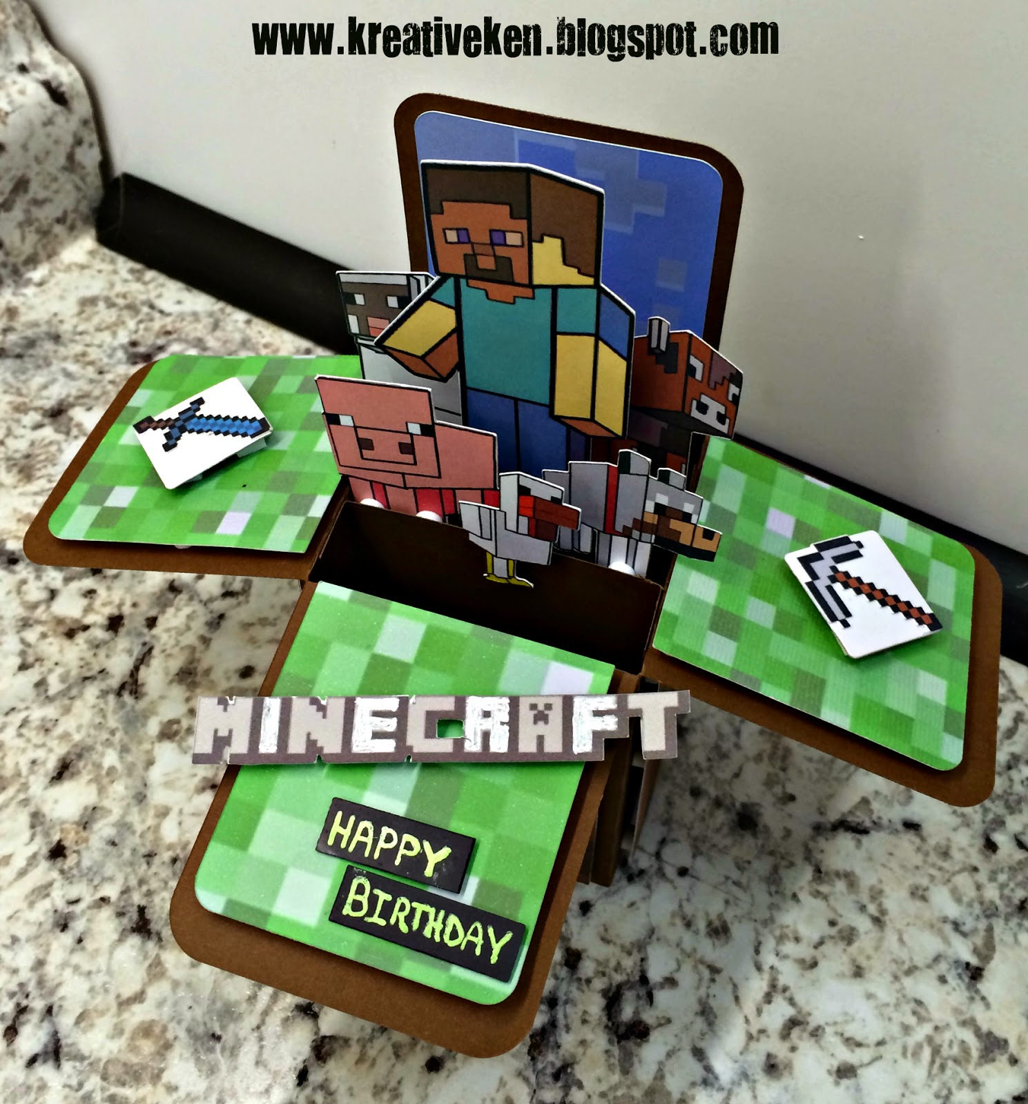 This is a picture of Bright Minecraft Birthday Card Printable