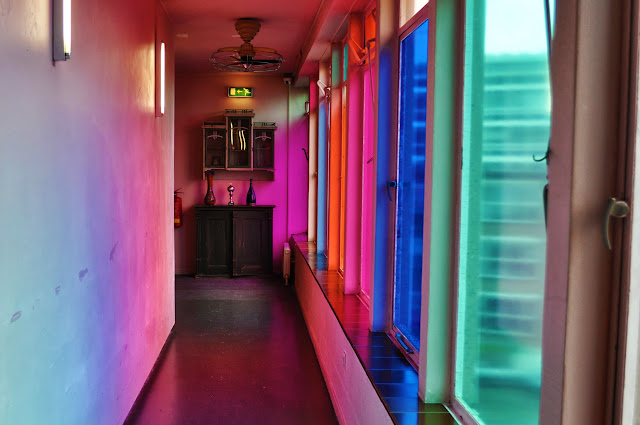 Colorful hallway at Hotel Bazar