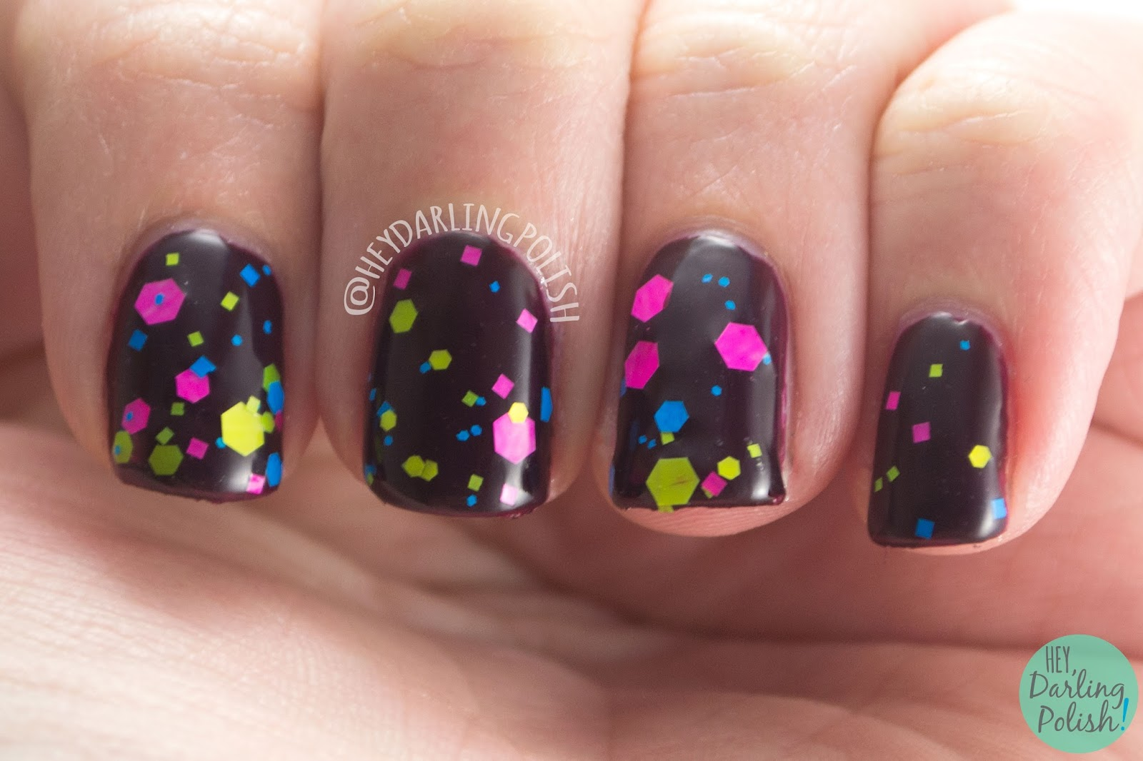 neon, glitter, science, noble gases, nails, nail polish, swatch, indie polish, indie, indie nail polish, parallax polish, hey darling polish