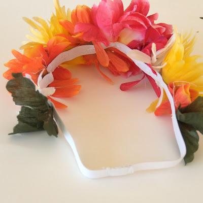 flowers sewn onto elastic