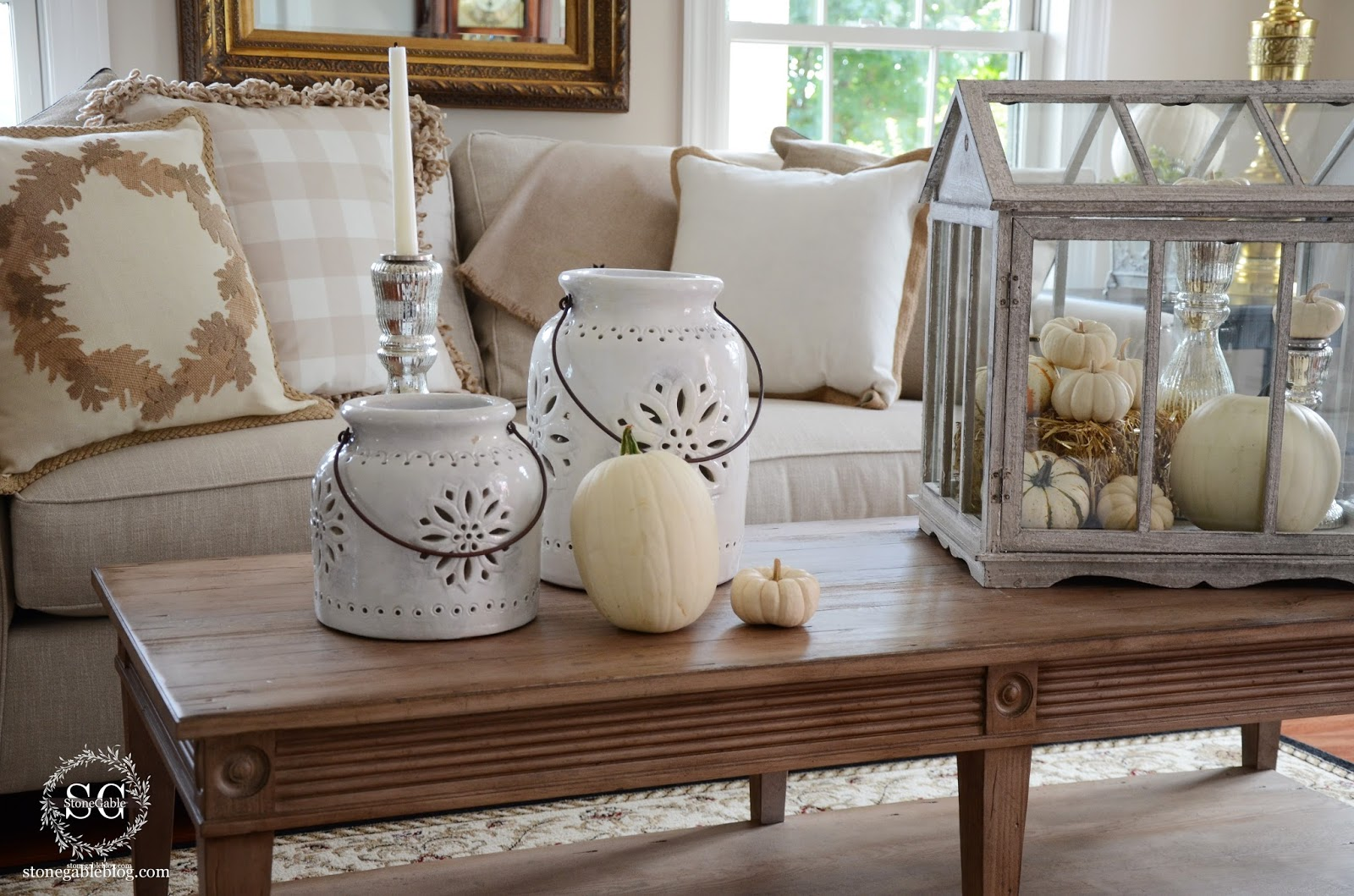 Living Room Southern Style Decorating savvy southern style white pumpkins in the living room guest post
