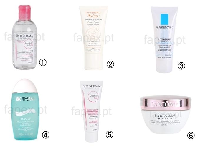 Sugestões de produtos para pele sensível
