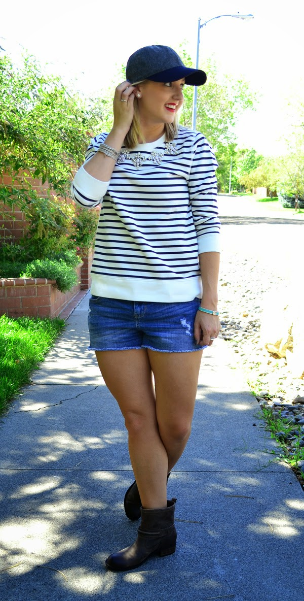 style blog, baseball hat, jeweled sweatshirt, shorts, boots, stripes