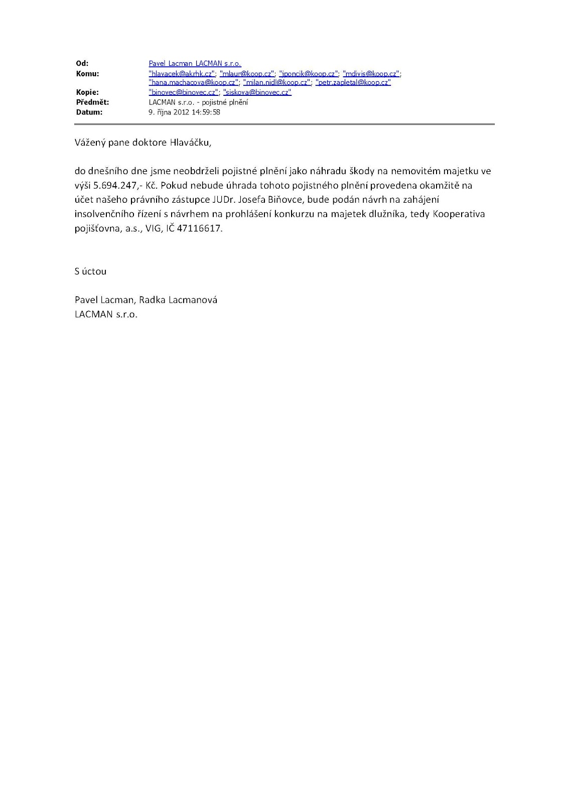 Odvolání proti plnění pojišťovny