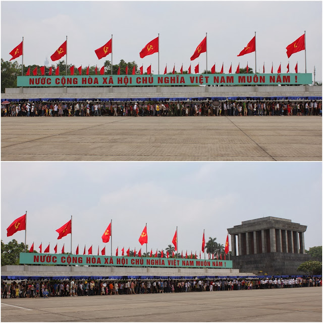 Look at the long crowded queue outside of Ho Chi Minh Mausoleum to pay visit to Uncle Ho during the long weekend of Reunification Day in Hanoi, Vietnam