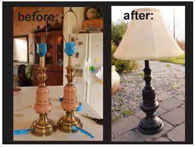 before and after thrift store lamp