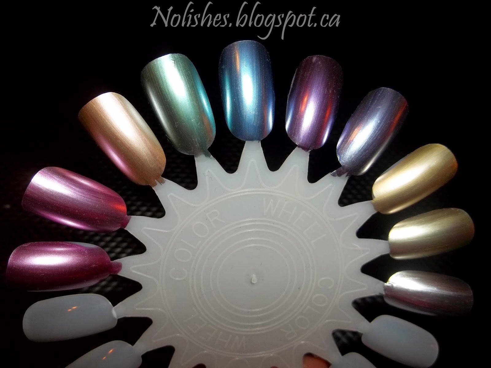 Sally Hansen Color Foil Swatches: Pink Platinum, Titanium Flush, Rose Copper, Minted Metal, Cobalt Chrome, Purple Alloy, Leaden Lilac, Liquid Gold, Yellow Gold, and Sterling Silver