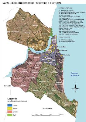 Mapa da região central de Natal