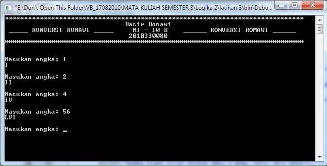 Bahasa C++ (Aplikasi Konverter Bilangan ROMAWI )