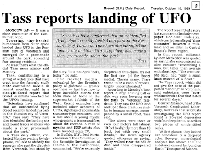 Tass Reports Landing of UFO - Roswell Daily Record The 10-10-1989