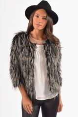 Lenore Black And Grey Faux Fur Jacket 12