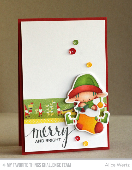 Merry & Bright Card by Alice Wertz featuring the Hand Lettered Holiday stamp set and the Birdie Brown Santa's Elves stamp set and Die-namics #mftstamps